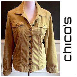 CHICOS Golden Cotton corduroy Jacket Size 0